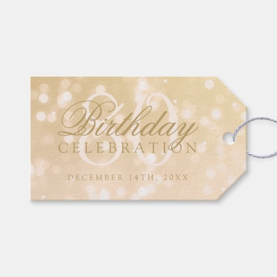 80th Birthday Party Gold Bokeh Sparkle Lights Gift