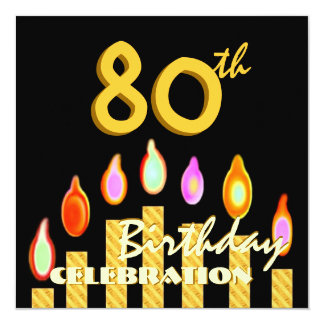 80th Birthday Party Gold Candles Template 13 Cm X 13 Cm Square Invitation Card