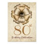 80th Birthday Party Gold Flower Bow 13 Cm X 18 Cm Invitation Card