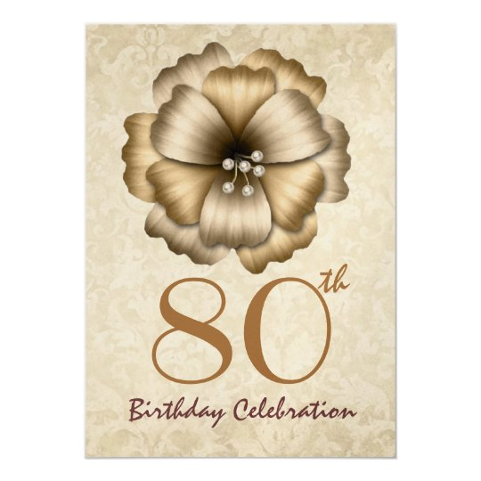 80th Birthday Party Gold Flower Bow Card