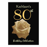 80th Birthday Party Gold Rose Custom Name Personalised Announcement