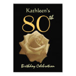 80th Birthday Party Gold Rose Custom Name 13 Cm X 18 Cm Invitation Card