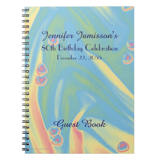 80th Birthday Party Guest Book, Blue with Hearts Notebooks