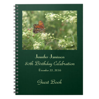 80th Birthday Party Guest Book, Orange Butterfly Notebook