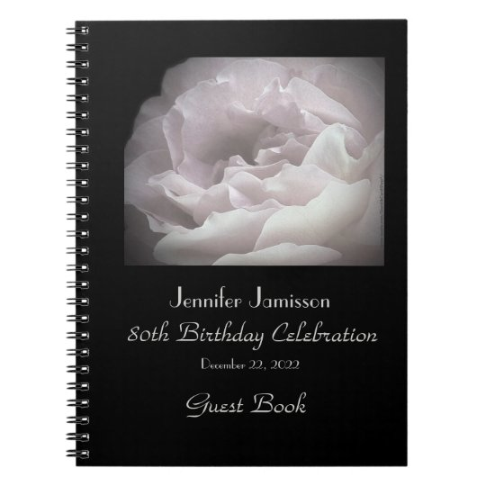 80th Birthday Party Guest Book, Pale Pink Rose