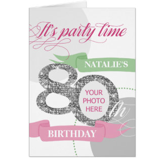80th Birthday Party Invitation Add Photo and Text Greeting Card