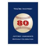 80th Birthday Party Invitation Baseball