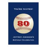 80th Birthday Party Invitation Baseball 13 Cm X 18 Cm Invitation Card