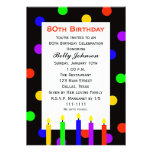 80th Birthday Party Invitation -- Candles and Dots