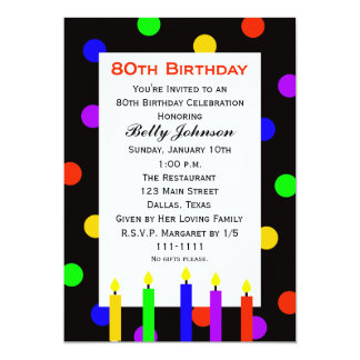 80th Birthday Party Invitation Candles and Dots