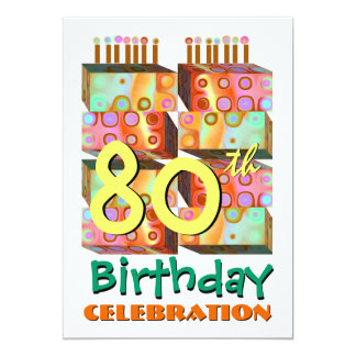 80th Birthday Party Invitation Candles & Gifts