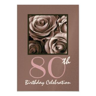 80th Birthday Party Invitation CHOCOLATE Roses