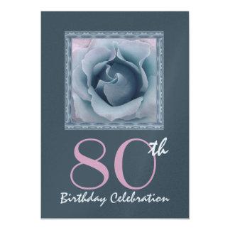 80th Birthday Party Invitation DREAMY BLUE  Rose