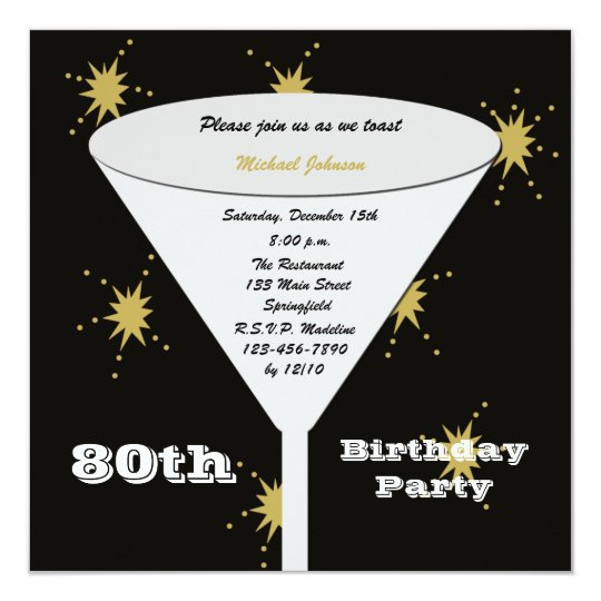 80th BIrthday Party Invitation Gold 80th Toast