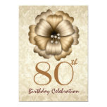 80th Birthday Party Invitation Gold Flower Bow