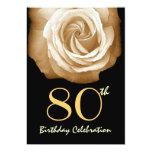 80th Birthday Party Invitation GOLD Rose