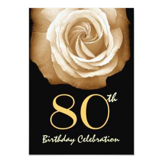 80th Birthday Party Invitation GOLD Rose