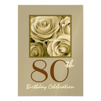 80th Birthday Party Invitation GOLD Roses Metallic