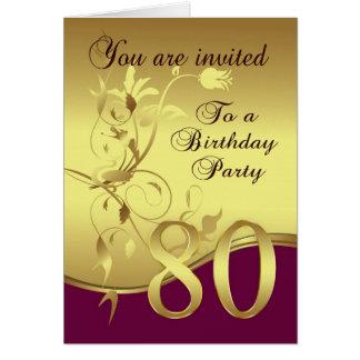 80th Birthday Party Invitation Greeting Card