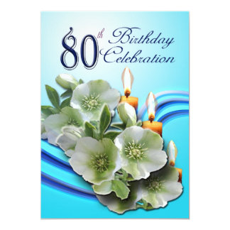80th Birthday Party Invitation - Hellebores