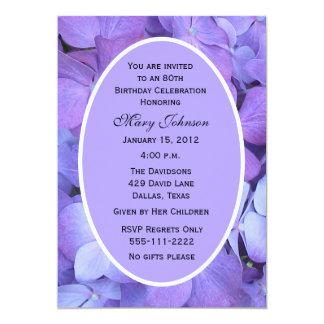 "80th Birthday Party Invitation -- Hydrangeas 5"" X 7"" Invitation Card"