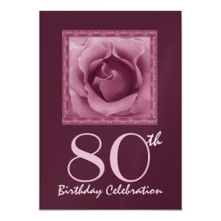 80th Birthday Party Invitation PINK & BERRY Rose