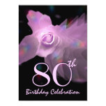80th Birthday Party Invitation PINK Butterfly Rose 13 Cm X 18 Cm Invitation Card