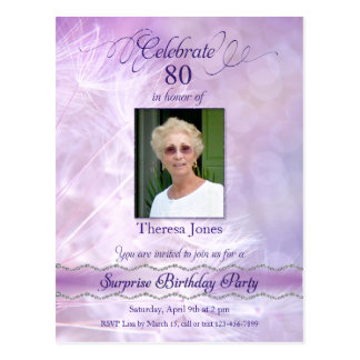 80th Birthday Party Invitation Postcard