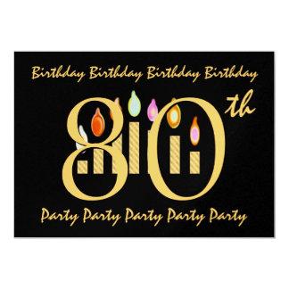 "80th Birthday Party Invitation Template 5"" X 7"" Invitation Card"