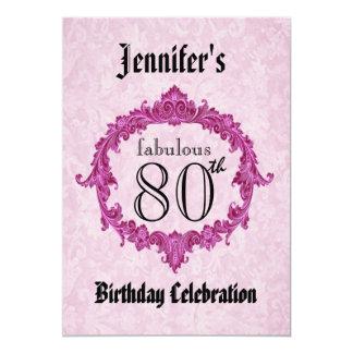 80th Birthday Party Invitation Vintage Pink Frame
