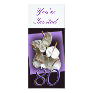 80th Birthday Party Invitation - white anthuriums