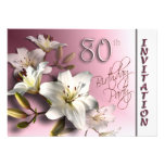 80th Birthday Party Invitation - white Lilies