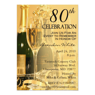 "80th Birthday Party Invitations 5"" X 7"" Invitation Card"