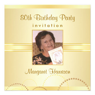 80th Birthday Party Invitations with Photo Option Invites