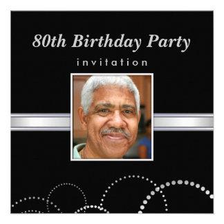 80th Birthday Party - Mens Photo Invitations Invitations
