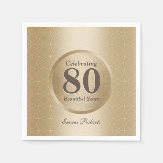 80th Birthday Party Monogram Gold Elegant Disposable Serviettes