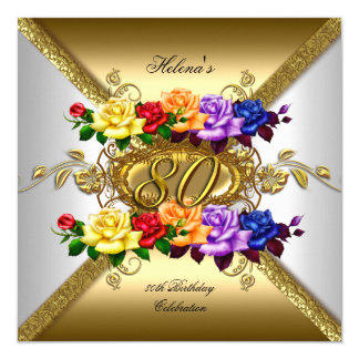 80th Birthday Party Multi Color Gold Roses 13 Cm X 13 Cm Square Invitation Card