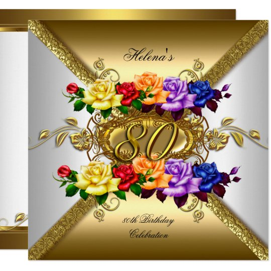 80th Birthday Party Multi Colour Gold Roses Invitation