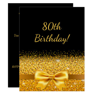 80th birthday party on black with gold bow sparkle card