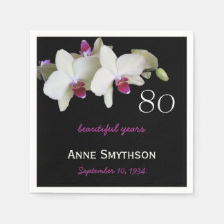 80th Birthday Party Orchid Paper Napkins Standard Cocktail Napkin