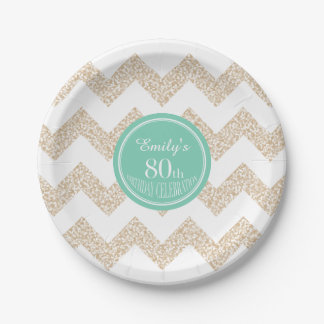 80th Birthday Party Paper Plates - Choose Color 7 Inch Paper Plate