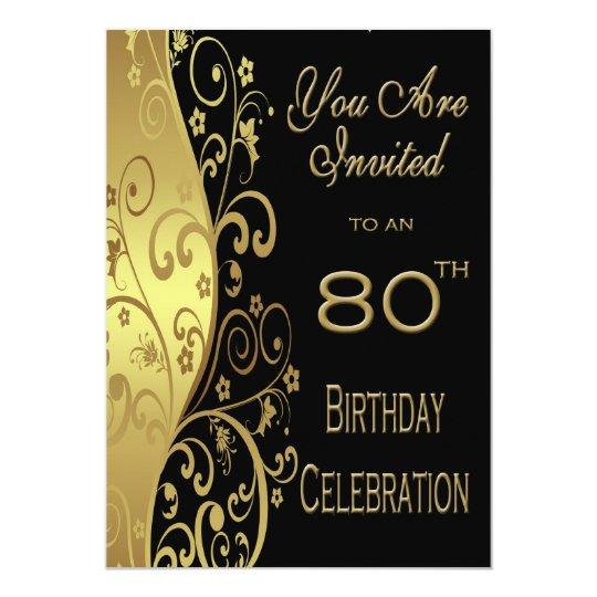 80th Birthday Party Personalised Invitation