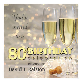80th Birthday Party - Personalized Invitations
