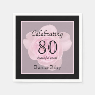 80th Birthday Party Rose Paper Napkins