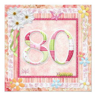 80th birthday party scrapbooking style 13 cm x 13 cm square invitation card