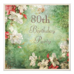 80th Birthday Party Shabby Chic Hibiscus Flowers 13 Cm X 13 Cm Square Invitation Card