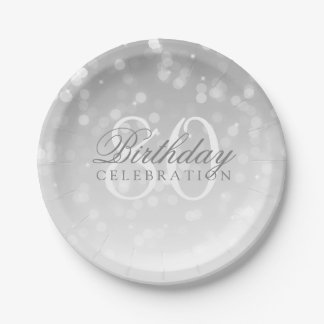 80th Birthday Party Silver Bokeh Sparkle Lights Paper Plate