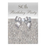 80th Birthday Party Silver Sequins, Bow & Diamond Invites
