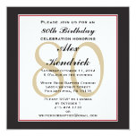80th Birthday Party Square Invitation