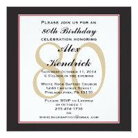 Formal birthday invitations announcements zazzle 80th birthday party square invitation stopboris Image collections